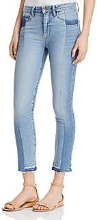 PAIGE Women's Taylor Contrast-Denim Released Hem Jeans in Rosslyn (Blue)
