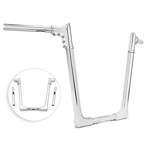 WeiSen 16' Rise Adjustable Ape Hanger Horn Handlebar Compatible with Most Harley Dyna Softail Sportster XL 883 1200 & Road King Model & 1998-2013 Road Glide