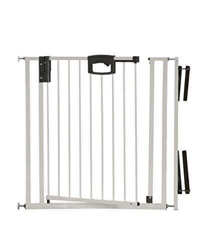 Geuther - Treppenschutzgitter ohne Bohren Easylock 4793+, für Kinder oder Hunde, zum klemmen, Metall, 84,5 - 92,5 cm, weiß/silber, TÜV geprüft