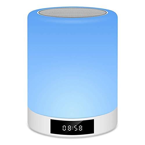 Nfudishpu Bluetooth-Lautsprecherlampe mit Wecker, tragbare Nachtlichtlautsprecher mit intelligenter Touch-Steuerung - Stellen Sie die Mood Premium LED-Nachttischlampe für Schlafzimmer, Wohnzimmer, Cam