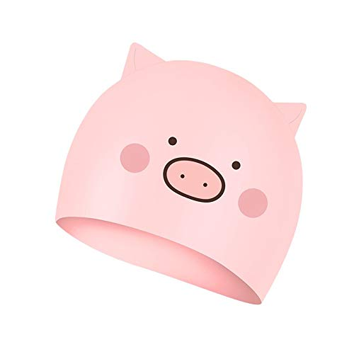 Linda caricatura 2021 nueva gorra de piscina gorra de niño gorra de niña adulto gorra de silicona flexible Over7yearsold Pink