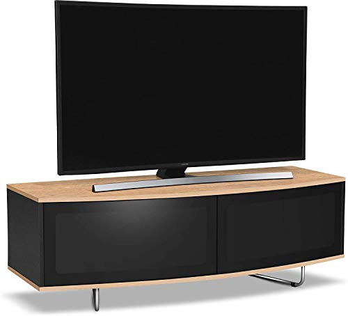 """Centurion Supports Caru Gloss Black and Oak Beam-Thru Remote Friendly Super-Contemporary""""D"""" Shape Design 32""""-65"""" LED/OLED/LCD TV Cabinet"""