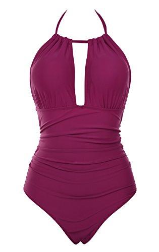 Aidonger Donne Costumi da Bagno Backless 1 Pezzo Costume da Bagno Halter Swimsuit Beachwear S-2XL (XL, vino rosso)