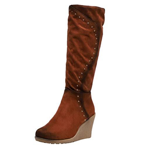 Botas Invierno Mujer Cuna,CláSicos Botas De Nieve De Las Mujeres Casuales Botines Calientes Zapatos Planos Redondos Botas De Mujer OtoñO E Invierno Botas De Piel Caliente Negro MarróN 35-43 EU