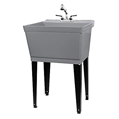 Grey Utility Sink Laundry Tub With Pull Out Chrome Faucet, Sprayer Spout, Heavy Duty Slop Sinks For Washing Room, Basement, Garage or Shop, Large Free Standing Wash Station Tubs and Drainage