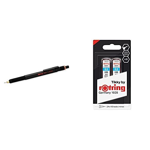Rotring Mechanical Pencil Portaminas De 0.5 Mm, Negro + (1904836) Recambios de minas HB Hi-Polymer para portaminas finos, de 0,50mm, 2 x 12 minas