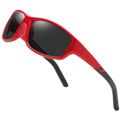 Duco Gafas de sol Kids Gafas deportivas polarizadas para niños y niñas (Rojo K005 para 5-12 años)