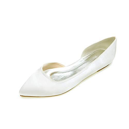 CHARMSTEP Zapatos De Novia Planos para Mujer Bailarinas Satén Punta Cerrada Zapatos De Boda 35-42 2046-08,Marfil,41 EU