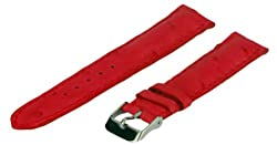 Leather Watch Strap, Genuine Ostrich Leather, Red, 22 mm, Regular Length