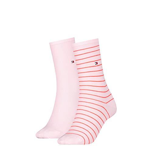 Tommy Hilfiger Frauen Small Stripe Socken, Pink Combo, 39/42