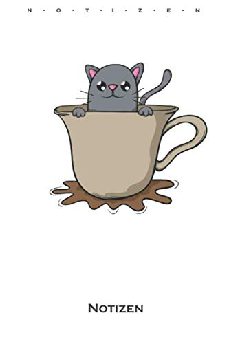 Katze in Kaffeetasse Notizbuch: Punkteraster Notizbuch für Katzen- und Tierfreunde