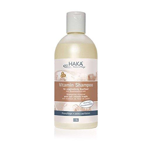 HAKA Vitamin Shampoo mit Baumwollextrakt I 500 ml I Haarpflege für empfindliche & irritierte Kopfhaut I Frei von Silikon I Pflegeshampoo für Frauen und Männer
