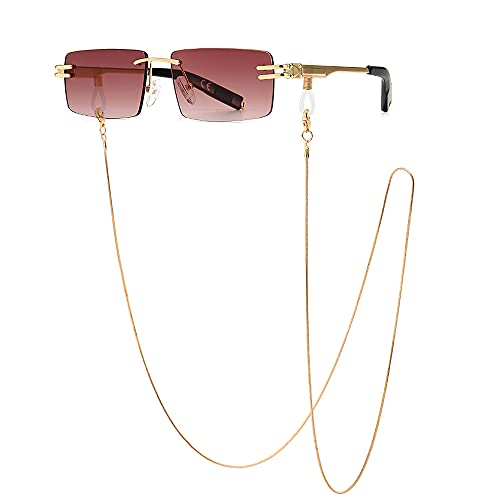 SHEEN KELLY Cadena de gafas de sol retro sin montura para hombres, mujeres, gafas de sol con montura ultrapequeña rectangular, gafas transparentes con lentes
