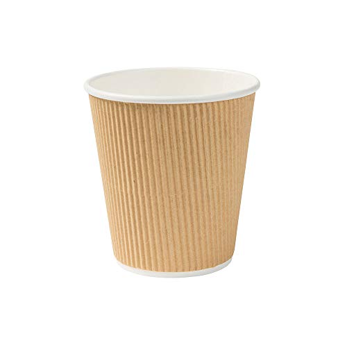 BIOZOYG 500 Stück Riffelbecher to Go Pappbecher aus braunem Kraftkarton I Umweltfreundliche Kaffee Trinkbecher Einweg Bio unbedruckt 250 ml / 10 oz I 100% biologisch abbaubar, kompostierbar