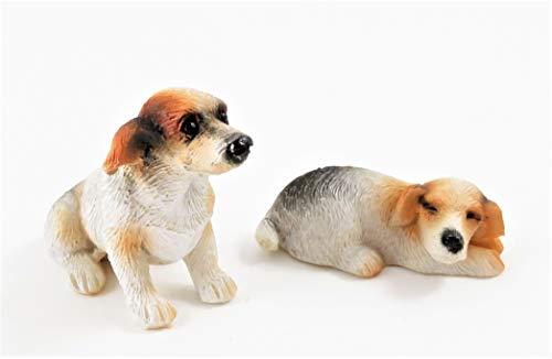 Melody Jane Dolls Houses Casa delle Bambole Jack Russel Cani Seduto & Stesi Giù Miniatura Animale Domestico 1:12 Accessorio