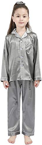 Conjunto de pijamas de seda para niños pequeños PJS, ropa de satén de manga larga,  Gris, 160#(10-11Y/height 56'-60'/75-89lb)