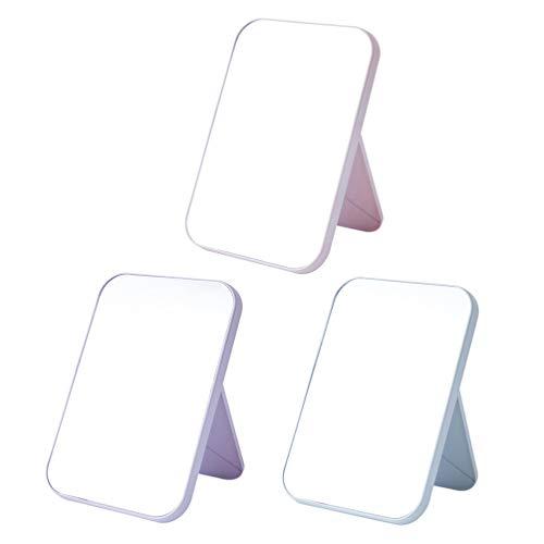 Pixnor 3 Pcs Voyage Vanité Miroir De Bureau Debout Miroir De Maquillage pour Femmes Filles Cosmétiques Beauté Personnelle Miroirs Portatifs Rose + Vert Clair + Lavande