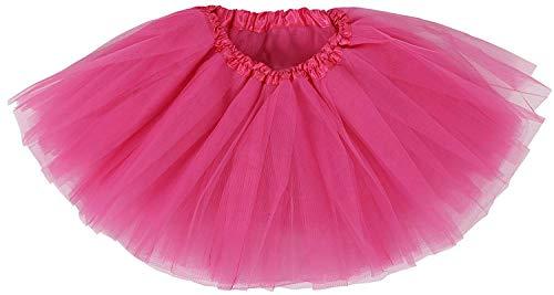 Ksnrang Damen Tütü Rock Minirock 3 Lagen Petticoat Tanzkleid Dehnbaren Mini Skater Tutu Rock Erwachsene Ballettrock Tüllrock für Party Halloween Kostüme Tanzen (Rose Rot)