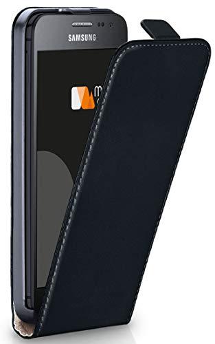 moex Flip Case für Samsung Galaxy Xcover 3 - Hülle klappbar, 360 Grad Klapphülle aus Vegan Leder, Handytasche mit vertikaler Klappe, magnetisch - Schwarz