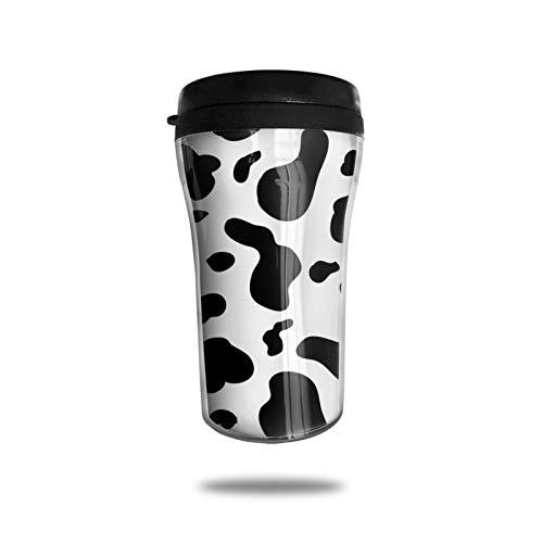 OUYouDeFangA Taza de café de viaje con impresión de vaca 3d impresa portátil taza de vacío, taza de té aislada botella de agua vasos para beber con tapa 8.5 oz (250 ml)