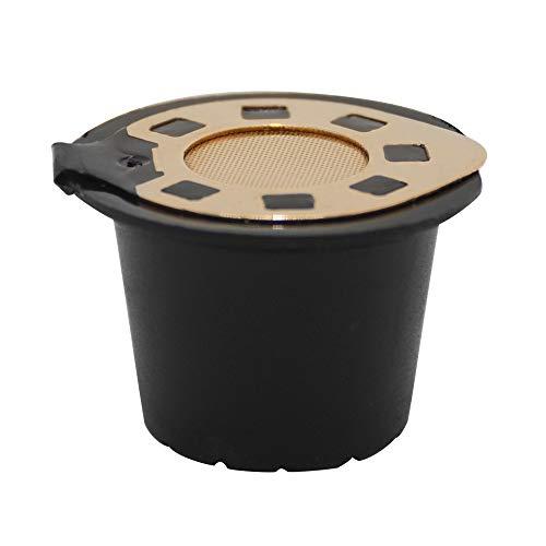 FiedFikt Kaffeefilter, nachfüllbar, 1 Tasse, Kaffee-Kapseln, Edelstahlgeflecht, kompatibel mit Nespresso-Maschinen, umweltfreundlich D