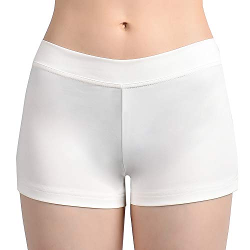SUPRNOWA Girl's Women's Boy Cut Low Rise Spandex Active Dance Shorts Yoga Workout Fitness (White, Medium)
