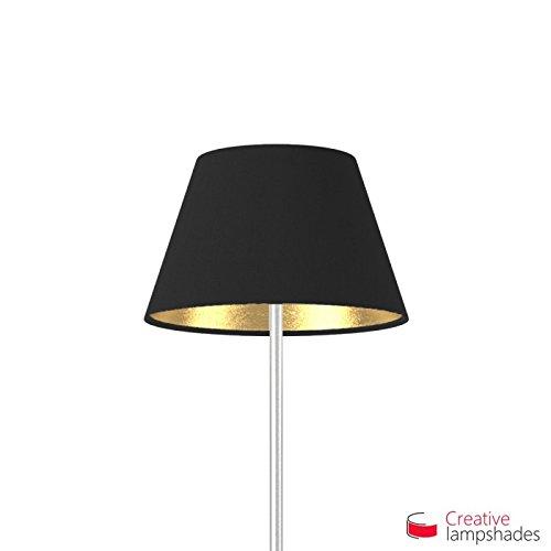 Creative Lampshades Empire Lampenschirm Schwarz Leinwand (innen Gold) - Durchmesser 55-33cm - H. 31cm, E27 Für Standleuchten, Nein