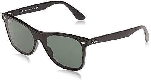 Ray-Ban RB4440N Blaze Wayfarer Polarized Sunglasses, Matte Black/Green, 41 mm