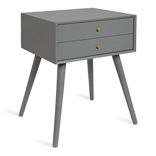 Kate and Laurel Finco Midcentury Modern Style Side Table with 2 Drawers, Black Finish with Brass Hardware