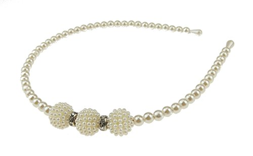 Dames Meisjes Faux Pearl Smalle Hoofdband Alice Band 3 Ronde Clusters