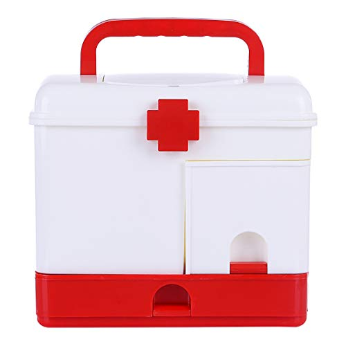 Mecotecn Hausapotheke Box, Medizinbox mit Fächern und Griff Medizinkoffer Aufbewahrungsbox für Familie, Büro
