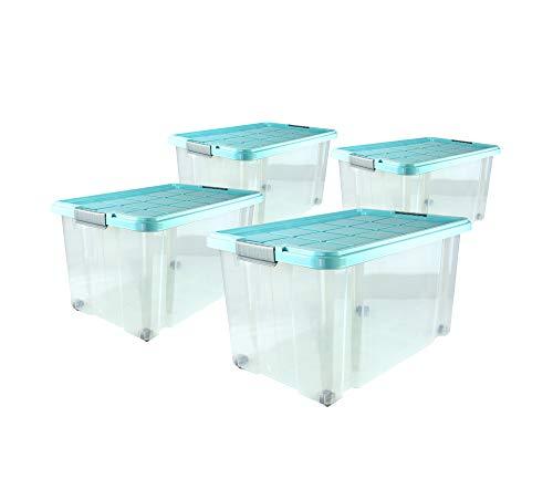 4er Set Eurobox mit Deckel und Rollen 60 x 40 x 33 cm - Transparente Kunststoffbox, türkiser Deckel, Griffe in Silberfarben