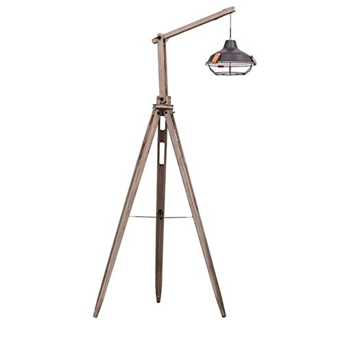 DXXWANG Floor Lamp Reading Decorative Lights,Industrial Retro Long Arm Fishing Floor Light Black Wrought Iron Cage Shade Knob Joint Adjustable
