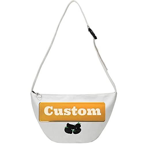 Nombre personalizado Sling Bag Hombro USB Unisex School Sling Bolso pequeño (Color : White, Size : One size)