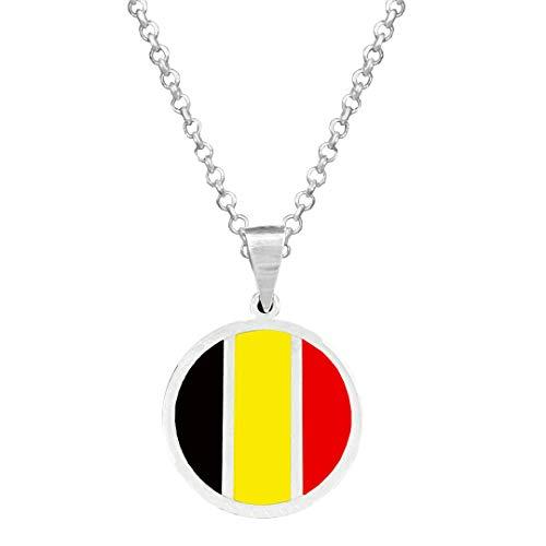 Yo Me Quedé en Casa Colgante Plata Bandera de Bélgica | Colgante Hombre Plata | Colgante Plata Mujer | Collar Personalizado | Regalo Original (Plata Mate, 45)