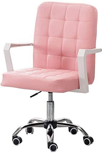 JJSFJH Muebles de Silla Muebles Faux Cuero Inicio Oficina Escritorio de computadora Taburete Giratorio sobre Ruedas, 8 cm Altura Ajustable (Color : Pink)