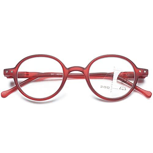 VEVESMUNDO Anti blaulicht Bifokal Lesebrillen Multifocal Damen Herren Federscharnier Retro Runde Nerd Vintage Progressive Lesehilfe Sehhilfe mit Stärke 1.0 1.5 2.0 2.5 3.0 (1 Stück Rot, 2.0)