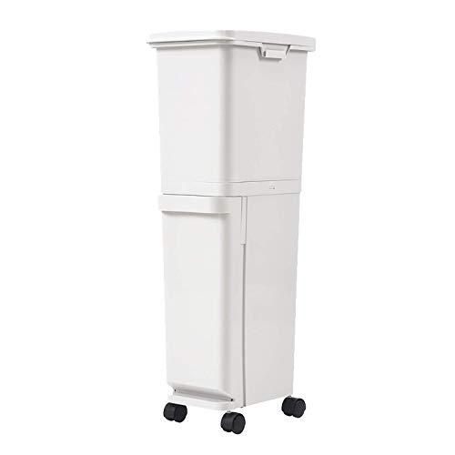 YUEZPKF Sauber und hygienisch Doppelabfallbehälter, große Sortier-Abfallbehälter 35l Doublelayer Bewegliche Mülleimer Sortierbehälter Trocken Nass Multifunktionsmüll