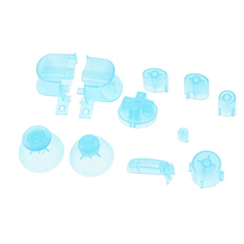 ABXYZ Buttons +Thumbstick D-pad Triggers Full Buttons Mod Set for NGC Gamecube Controller Clear Light Blue Color