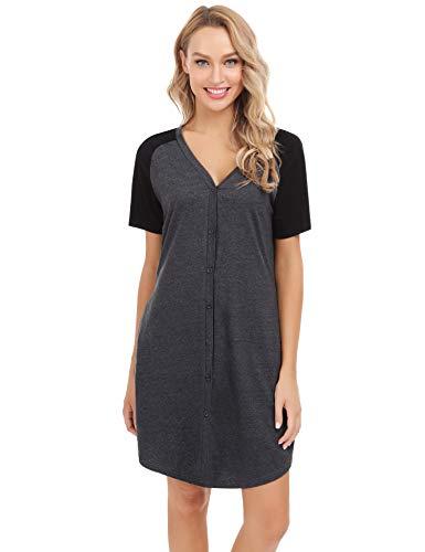 Aiboria Still Nachthemd Damen Baumwolle Nachtkleid Kurz Negligee Sommer Nachtwäsche Umstandskleid Stillnachthemd Sleepshirt V Ausschnitt mit Durchgehender Knopfleiste