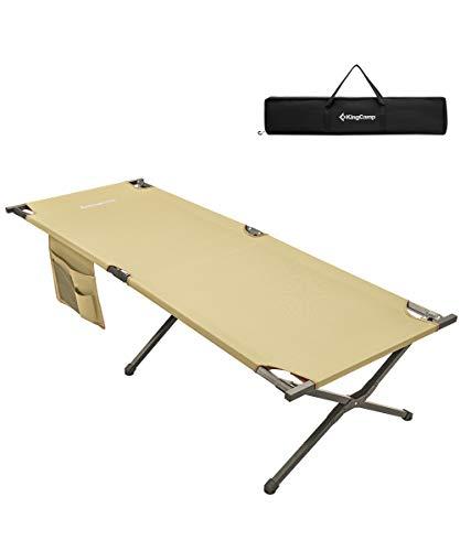 KingCamp XL Campingbett 205 × 75 × 46 cm Feldbett mit Seitentasche bis 120 kg belastbar, Beige