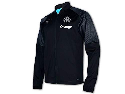 PUMA Herren Trainingsjacke Olympique de Marseille Poly Jacket with Sponsor Logo with zi, Puma Black-Bleu Azur, M, 754652