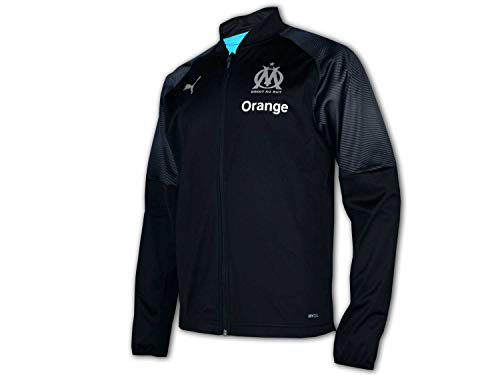 PUMA Herren Olympique de Marseille Poly Jacket Sponsor Logo with zi Trainingsjacke, Black-Bleu Azur, M