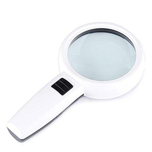 Lupe mit 3 LED-Leuchten, Große 90mm 30X Verzerrungsfreie Beleuchtete Lupe mit Glaslinse Zum Lesen Bücher Karten Kleine Drucke