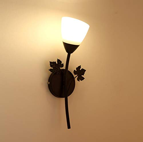 ZZKK Zwarte gouden wandlamp tuin bloemen eetkamer woonkamer slaapkamer hal creatieve verlichting E27 warm LED wit