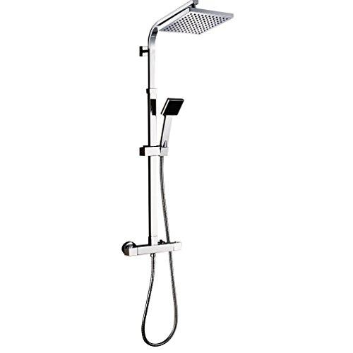 Auralum - Thermostat-Duscharmatur, Duschsystem mit Brausethermostat und Regendusche, Chrom