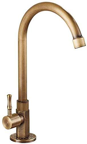 Grifo de Cocina,Grifo de lavabo frío vertical antiguo giratorio retro de cobre Grifo de lavabo