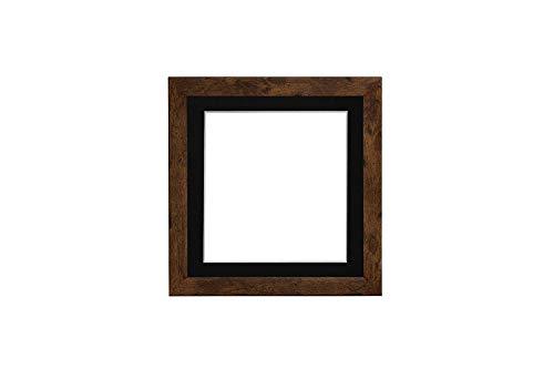 3D Deep Box Frame Range Bilder/Foto-/Poster-Rahmen mit passgenauem Passepartout, fertig zum Aufhängen, Teak-Rahmen mit schwarzem Passepartout, A3 für A4 Bilder