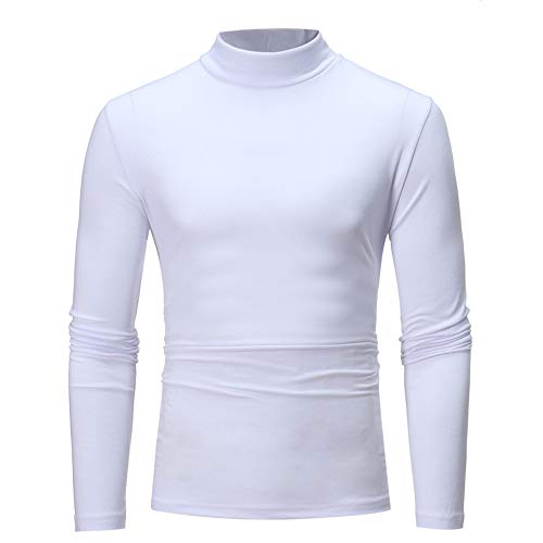 Men's Autumn Winter Turtleneck Long Sleeve T-Shirt Top Blouse Sweatjacke mit Kapuze Slim Fit Baumwolle Modernes Hoodie Herren Kapuzenpullover Hoodie Pullover Innenseite wahlweise Teddy(Weiß.3XL)