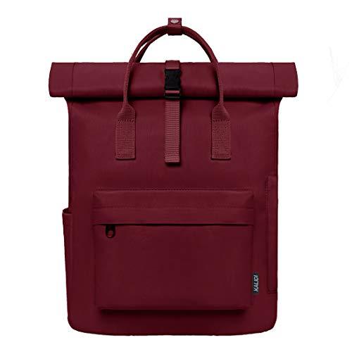 KALIDI Roll Top backpack Zaino Nero Donna e Uomo - Zaino di Alta Qualità con Parte Superiore Pieghevole - Borsa Quotidiana 18-22 Litri - Idrorepellente, Flessibile (weinrot)